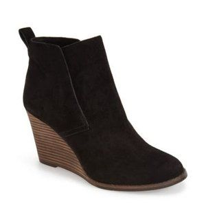 Lucky Brand Yoniana Stacked Wedge Black Bootie, 9M